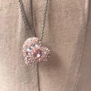 Pink heart Swarovski crystal necklace